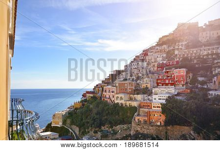 Positano panoramic view in a summer day Amalfi coast Italy Europe