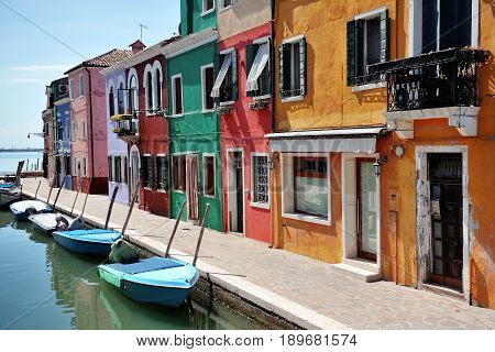 Burano Venice Italy - colorful buildings and boats