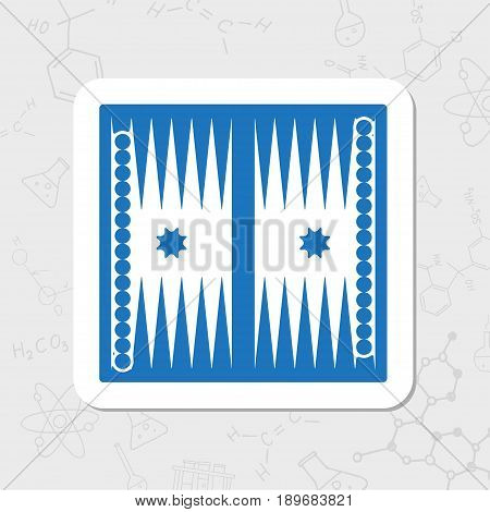 Vector flat sticker backgammon table with dices icon on white background