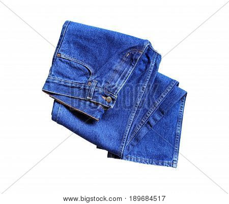 New blue jeans on white background. Isolated with clipping path