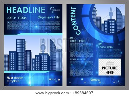 Vector Flyer, Corporate Business, Annual Report, Brochure Design And Cover Presentation With Blue Hi
