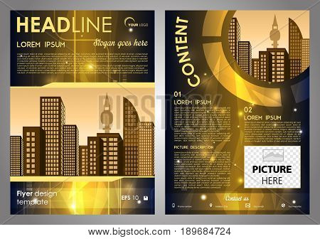 Vector Flyer, Corporate Business, Annual Report, Brochure Design And Cover Presentation With Gold Hi