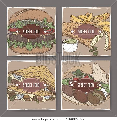 Four color banners with crepes and fish, falafel and hamburger sketch. American, European, Asian cuisine. Street food series. Great for market, restaurant, cafe, food label design.