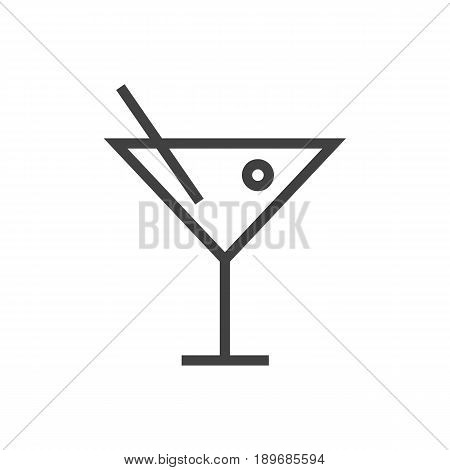 Isolted Martini Outline Symbol On Clean Background. Vector Cocktail Element In Trendy Style.
