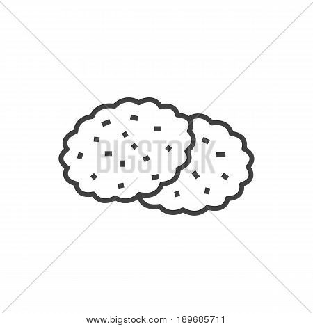 Isolted Shortcake Outline Symbol On Clean Background. Vector Cookie Element In Trendy Style.