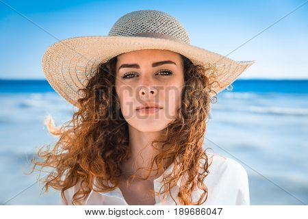 Pretty girl portrait - Beautiful woman enjoying summer holidays on a tropical island