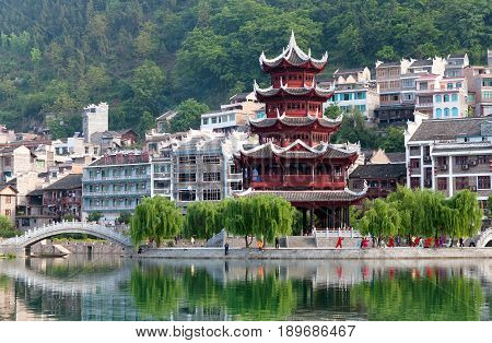 Zhenyuan Ancient Town On Wuyang River In Guizhou Province, China