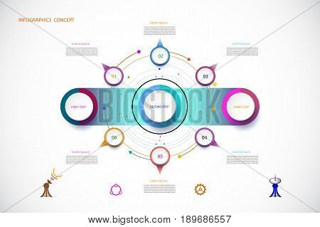Vector infographic template with number 6 step integrated circles. Business concept with options. For content diagram flowchart steps parts timeline infographics workflow layout chartVector illustration