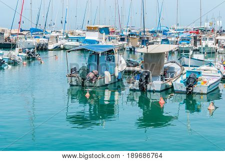 JAFFA - ISRAEL, April 10, 2017: Old Jaffa Port Tel Aviv Israel is now used as a fishing harbour and tourist attraction