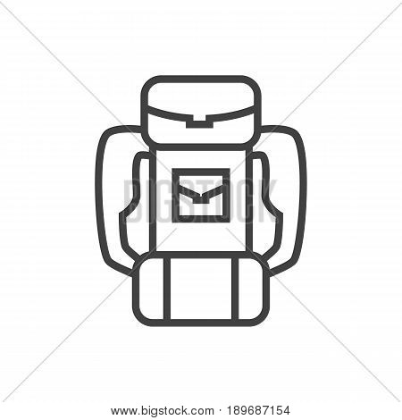 Isolted Backpack Outline Symbol On Clean Background. Vector Baggage Element In Trendy Style.