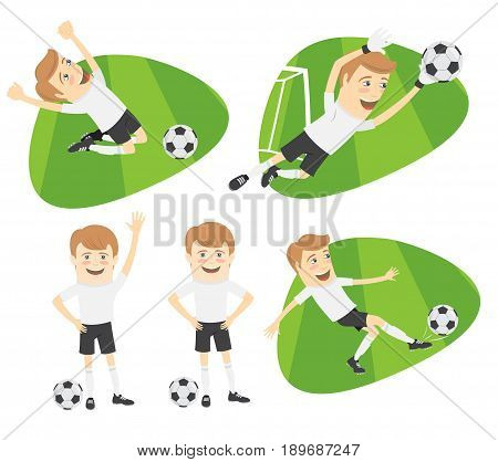 Set Funny Football Soccer Players Team Playing On Grass Field