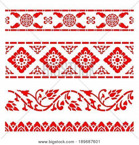 Line border pattern Asian traditional art Design Vector Thai traditional design (Lai Thai pattern)