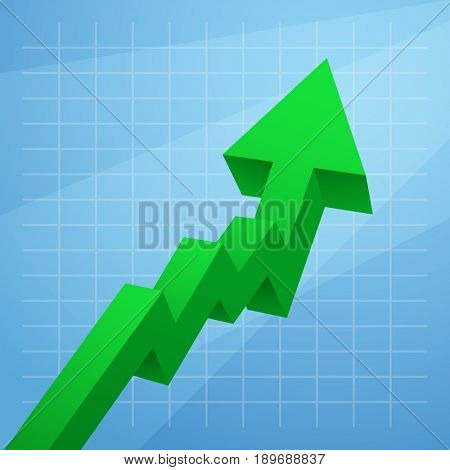 Green arrow graph rises upwards isolated on white background