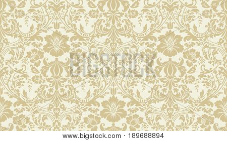 Seamless damask pattern. Golden and ivory image. Rich ornament, old Damascus style pattern for wallpapers, textile, Scrapbooking etc.