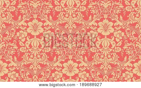 Seamless damask pattern. Red and yellow image. Rich ornament, old Damascus style pattern for wallpapers, textile, Scrapbooking etc.