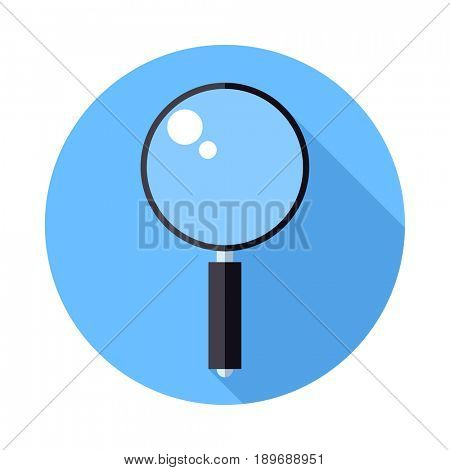 Magnifier icon. Flat Design icon. Magnifying glass on blue background