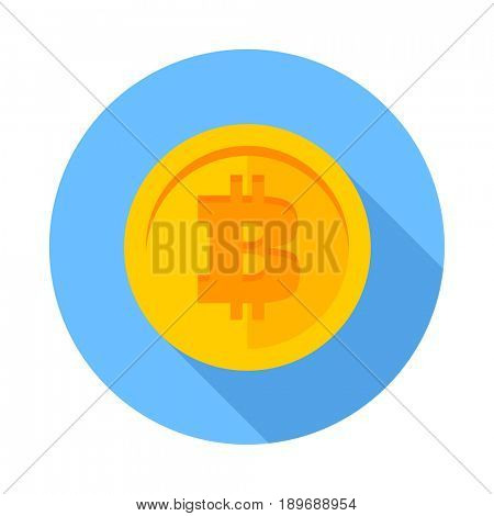 Flat icon Bitcoin. Gold coin with long shadow on blue background. Digital currency. Modern flat design icon bitcoin. Virtual money illustration