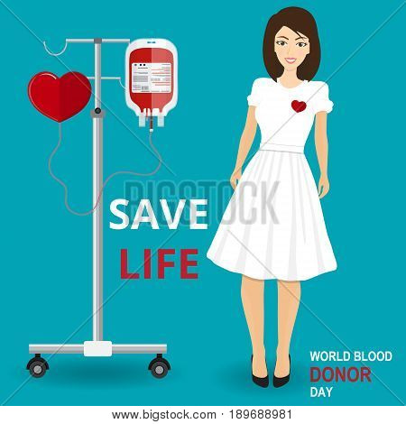 Give blood today. Save life. Medical and healthcare concept. Woman Doctor Takes Blood Sample From Patient Medical Physician Hospital Checkup Healthy Treatment Personnel