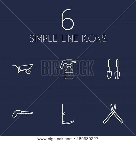 Set Of 6 Household Outline Icons Set.Collection Of Arm-Cutter, Barrow, Instruments And Other Elements.