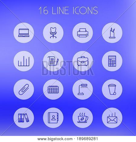 Set Of 16 Bureau Outline Icons Set.Collection Of Agreement, Telephone Directory, Document Case And Other Elements.
