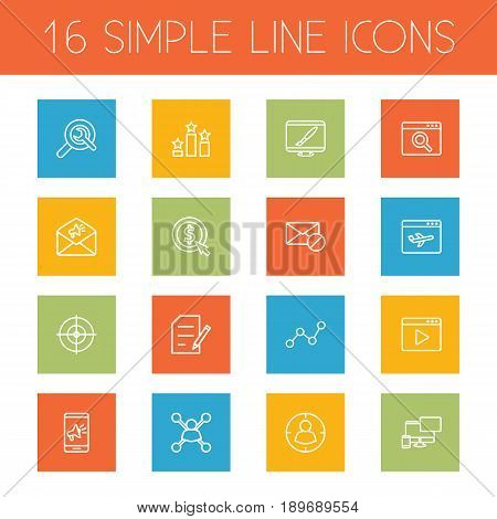 Set Of 16 Optimization Outline Icons Set.Collection Of Copyright, Stock Exchange, Scan And Other Elements.