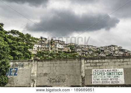 GUAYAQUIL, ECUADOR, MAY - 2016 - Populated poor neighborhood at top of hill in Guayaquil city Ecuador.