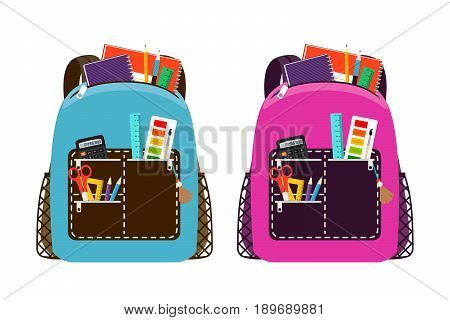 Blue and pink schoolbags. Childrens school bag packs isolated on white background with notebook and equipment for class education vector illustration