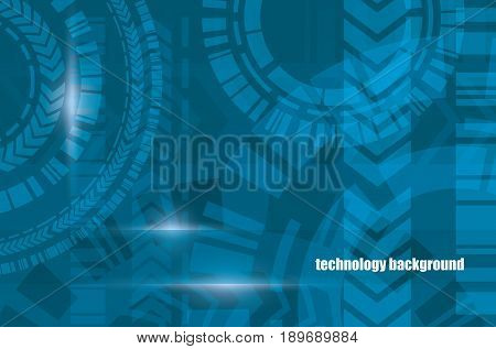 Digital technology abstract blue vector background. Technical gears cyberspace system connection network concept.