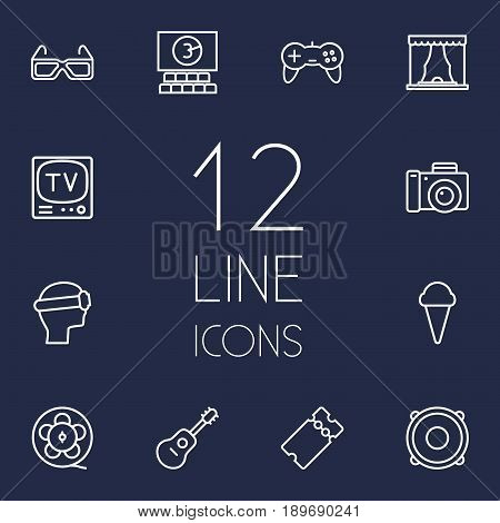 Set Of 12 Amusement Outline Icons Set.Collection Of Vr Helmet, Photo Camera, Film Role And Other Elements.