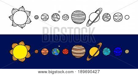 Set of hand drawn colorful and outline planets of the solar system isolated on background.