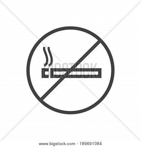 Isolted Forbidden Outline Symbol On Clean Background. Vector No Smoking Element In Trendy Style.