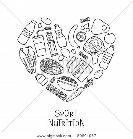 Hand drawn outline sport nutrition items including protein, fruits, nuts, vegetables, supplements, cereals and fish composed in heart shape. Healthy food for workout, fitness diet.