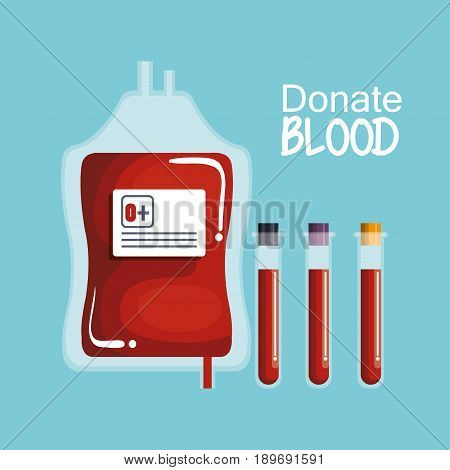 Blood unit and testing tubes with donate blood sign over blue background vector illustration