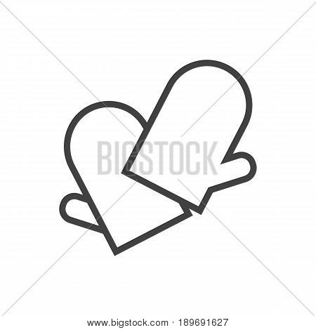 Isolted Potholders Outline Symbol On Clean Background. Vector Gloves Element In Trendy Style.
