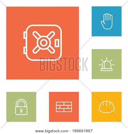 Set Of 6 Safety Outline Icons Set.Collection Of Close , Alarm , Hand Elements.