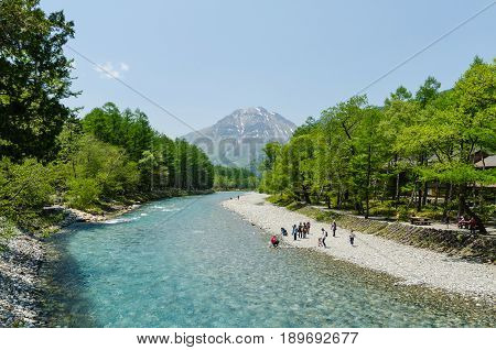 Nagano Japan - May 21 2016: Kamikochi is the famous national park in nagano. Many tourists sightseeing and taking a picture