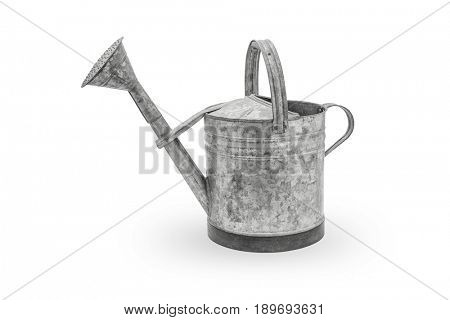 Vintage metal watering can on white background, Clipping path included