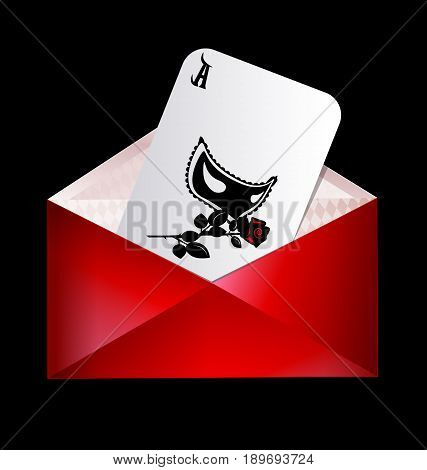 dark background, the red envelope with abstract games card of black half-mask and rose inside