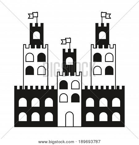contour castle built on an kingdom to protect them vacation vector illustration
