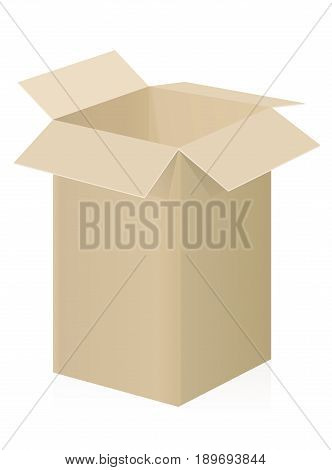 Big box - upright parcel or container with open top for mail, deliver or shipping- three-dimensional isolated vector illustration on white background.