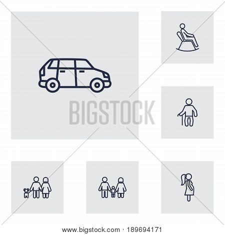 Set Of 6 Relatives Outline Icons Set.Collection Of Car, Man In Armchair, Grandfather Elements.