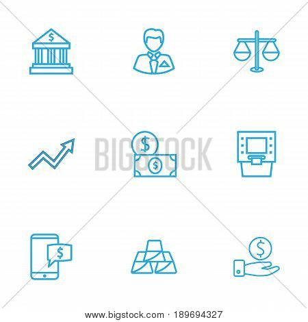 Set Of 9 Budget Outline Icons Set.Collection Of Atm, Electron Payment, Grow Up And Other Elements.