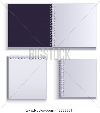 Clean empty paper notepad for notes. Isolated on white vector illustration