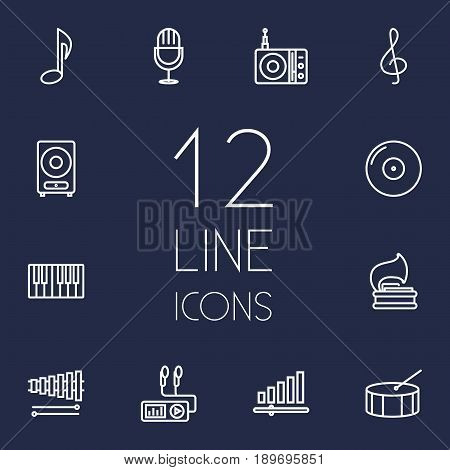 Set Of 12 Song Outline Icons Set.Collection Of Vinyl, Fortepiano, Gramophone And Other Elements.