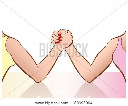 Womens arm wrestling as a symbol for female competition or cat fight. Vector comic illustration.