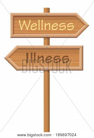 Wellness and Illness, written on wooden signposts in opposite directions, as a symbol for the two options health or disease. Isolated vector illustration on white background.