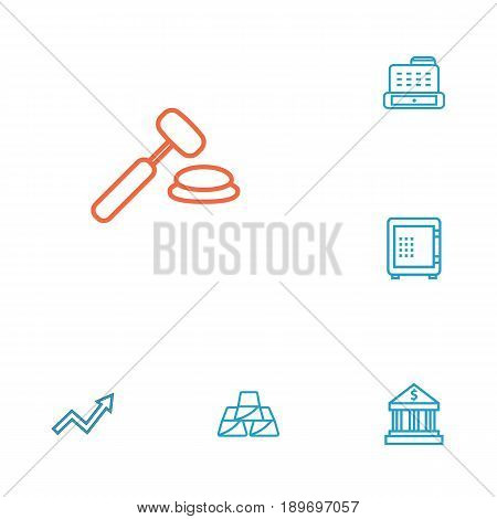 Set Of 6 Budget Outline Icons Set.Collection Of Auction, Grow Up, Safe And Other Elements.