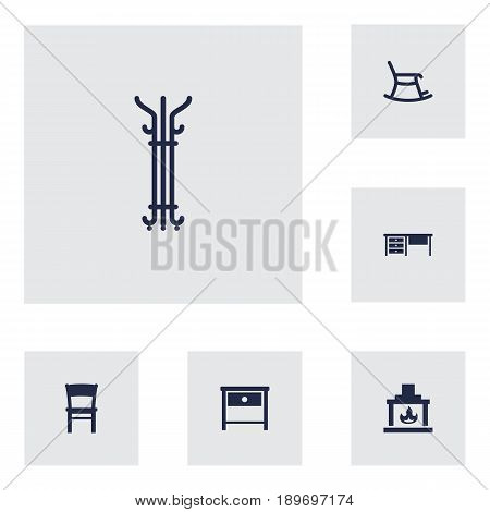Set Of 6 Set Icons Set.Collection Of Rocking Furniture, Chimney, Coat Stand Elements.