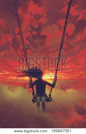 surreal concept of the mysterious woman sitting on the swing in the sky at sunset with digital art style, illustration painting