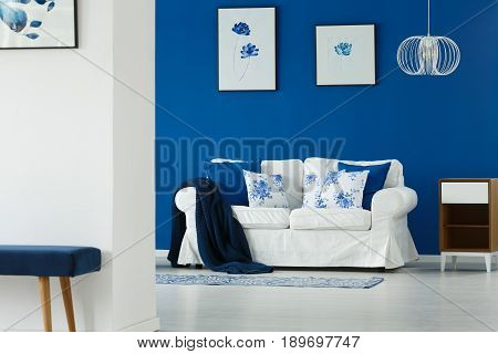 Sofa With Pillows In Living Room
